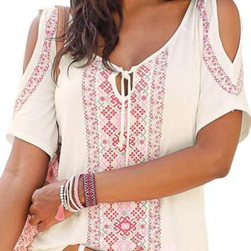 Chic White Cold Shoulder Boho Printed Top
