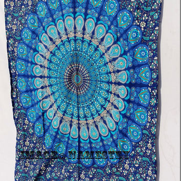 Mandala Blue Indian tapestry,Bohemian tapestry,Beach Throw,Indian tapestry,Dorm room Tapestry,Hippy Mandala Twin Tapestry
