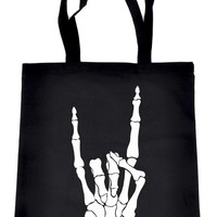 Skeleton Hand Horns Up Metal Tote Book Bag Handbag Alternative