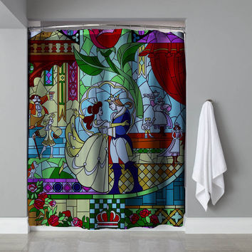 "Cheap Beauty And The Beast Stained Glass Exclusive Design Shower Curtain 60""x72"""