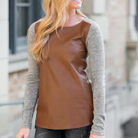 Friend or Faux Leather Top