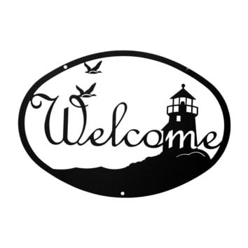 Wrought Iron Medium Lighthouse Welcome Home Sign Medium