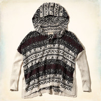 Patterned Poncho Sweater