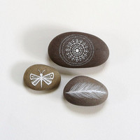 Nature Love 4 - Collection of 3 Painted Stones - Beach Pebble, Rock Art - by Natasha Newton