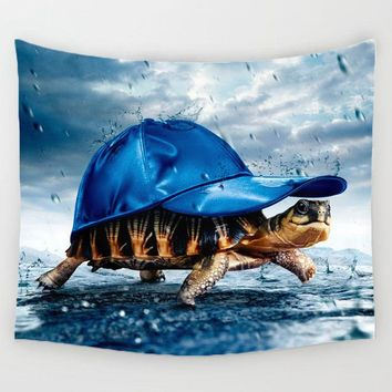 Comwarm Funny Marine Organism Pattern Tapestry Turtle Jellyfish Printed Gobelin for Rug Bedroom Curtain Decor Mural