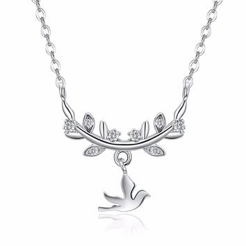 S925 Vintage Style Olive Branch Dove Pendant Chain  Silver Necklace Jewelry for Women