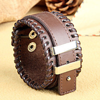 Fashion Punk  Adjustable Leather Wristband Cuff Bracelet  - Great for Men, Women, Teens, Boys, Girls 2759s