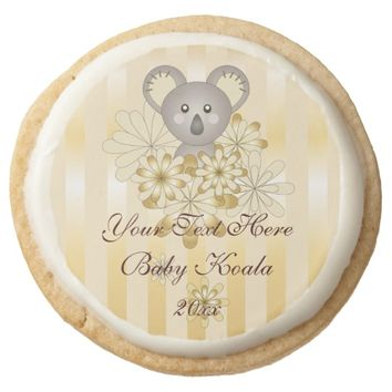 Cute Animal Baby Koala Gold Effect Stripe Kids Round Shortbread Cookie