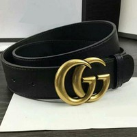 PEAPNQ2 GUCCI Woman Fashion Smooth Buckle Belt Leather Belt-6