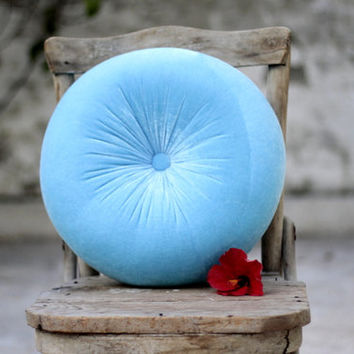 Turquoise blue velvet round pillow 16""