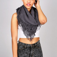 Waffle Fringe Infinity Scarf | Knit Scarfs at Pink Ice