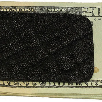 Black Genuine Elephant Leather Money Clip - Free Shipping to USA