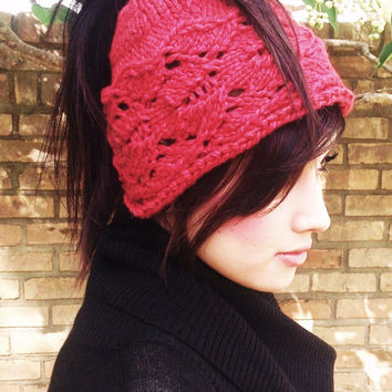 Cardiff Bay Ponytail Hat, Knitting Pattern pdf, misses and teens, cabled hat pattern,headband hat, red