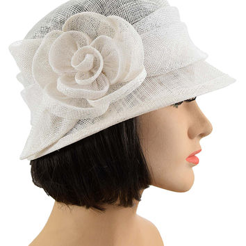 Ivory Sinamay Rose Accent Cloche Hat