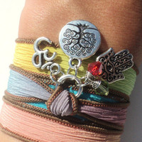 Tree of Life Hamsa Silk Wrap Bracelet Om Yoga Jewelry Blue Brown Bohemian Anklet Necklace Colorful Unique Gift Under 50 Item Z31