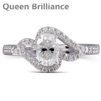 Queen Brilliance Center Stones 1 Carat Lab Created Moissanite Diamond Engagement Wedding Ring in Solid 14K White gold