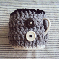 Crochet Cup Cozy with Buttons Mug Cozy Coffee Tea Cup Cozy Housewares Home and Living Home Decor Cute Father's Day Gift