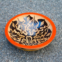 Red wooden bowl woodburning**Made to order