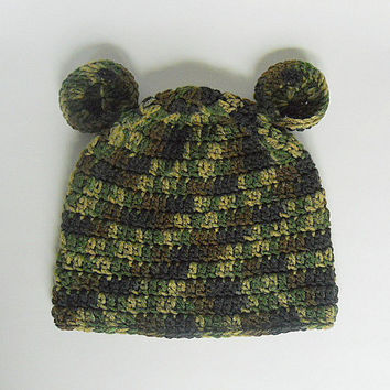 Toddler Green Camouflage Hat With Ears Infant Boy Camo Cap Baby Girl Winter  Beanie 2 To 5 Years Fall Hunting Clothes