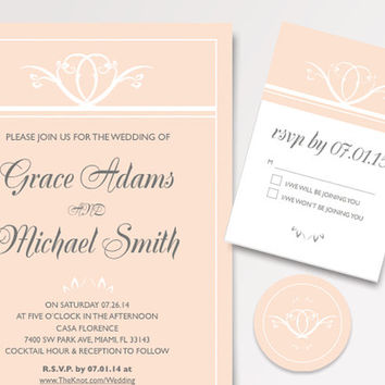 Classic Coral Wedding Invitation Template Available for Instant Download - DIY Printable