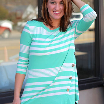 Striped Twirl Tunic {Mint + White}