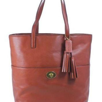 ONETOW Coach Legacy Leather Turnlock Tote Shoulder Bag - Cognac Brown