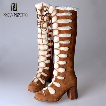 Prova Perfetto 2017 Euramerican Winter Down Feather Woman Long Boots High Heel Thicked Keep Warm with Fur Snow Boots For Female