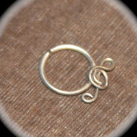 Small Treble Clef Sterling Silver Nose Ring, 18 20 gauge, Nose Hoop,Nose Rings, Piercing Jewelry