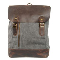Unique Large Handmade Leather Canvas Middle zipper Travel School Backpack