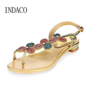 Thong Rhinestone Gold Flat Sandals Summer Diamond Sandals Bohemian Shoes Colorful Crys