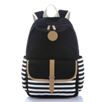 Navy Black and White Striped Cavans Backpack Travel Fashion Bag Daypack