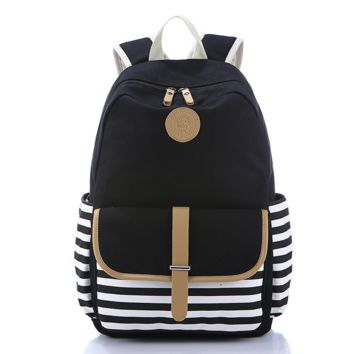 Navy Black and White Striped Cavans Backpack Travel Bag Daypack