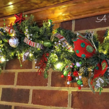 Red and Lime Green Whimsical Light Up Christmas Garland 7.5ft - Red and Lime Green, Christmas Garland, Banister Garland, Garland with Lights