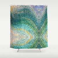 "Mermaid Shower Curtain - Artistic Shower ""Mermaid's Tail"" Teal Aqua blue, ocean, waves, mosaic, sea art coastal decor bath"