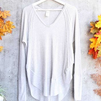 Free People - Catalina long-sleeve thermal top - Heather Grey
