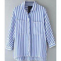 LUCLUC Blue Striped Long Sleeve Blouse - LUCLUC