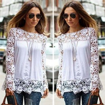 Streetstyle  Casual Women Sheer Sleeve Embroidery Lace Crochet Chiffon Shirt