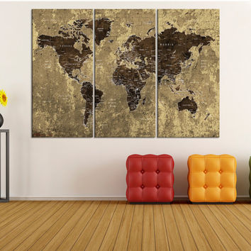 Push pin detailed world map wall art canvas, push pin world map canvas print, travel map pin, colorful world map country name No:9S32