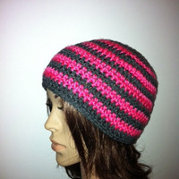 Stripetastic Beanie  Hot Pink Charcoal Gray