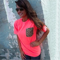 Women Fashion Sexy Crewneck Short Sleeve Leopard Print Cotton Blouse Casual Top Shirts T-Shirts [8805221767]