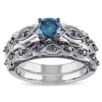 Miadora 10k White Gold 1ct TDW Blue Diamond Bridal Ring Set | Overstock.com Shopping - The Best Deals on Bridal Sets