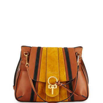Chloe Lexa Striped Medium Shoulder Bag, Tan