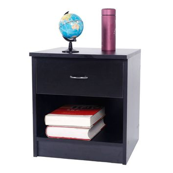 Home Bedroom Nightstand in Black Finish Bedside Table 1 Drawer Storage Furniture