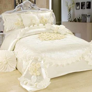 Tache 6 Piece Floral Solid White Sweet Victorian Luxurious Comforter Set