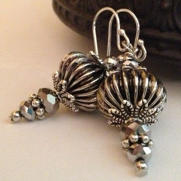 Silver Fluted Bead Earrings, Ornaments, Ornament Earrings, Fluted Earrings, Silver Metal Bead Earrings, Sterling Silver Earwires
