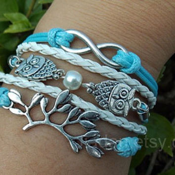 Owl bracelet,forked branches bracelet,infinity bracelet,pearl bracelet,blue and white,lovers of leather,fashion charm jewelry,as wise as owl