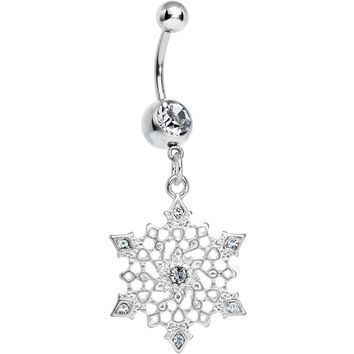 Clear Gem Delicate Winter Snowflake Dangle Belly Ring