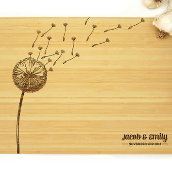 Personalized Cutting Board, Wedding Gift, Dandelion Design, Anniversary Gift, Chopping Board, Bridal Shower, Hostess Gifts, Butcher Block