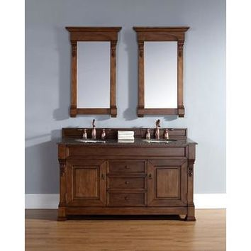 "James Martin Brookfield 60"" Double Vanity And Mirror Set In Country Oak"