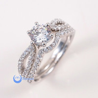 .75ct Engagement Wedding Set 2 RINGS Signity CZ Rhodium over Sterling Silver